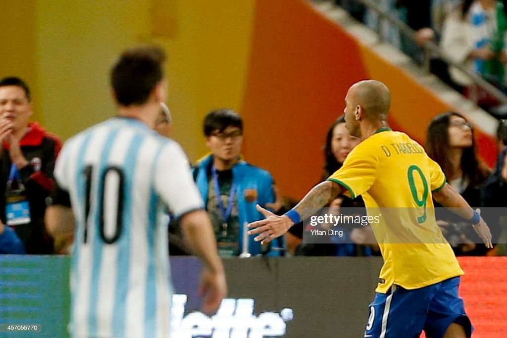 Diego Tardelli #9 of Brazil celebrates after scoring his team's first goal during a match between Argentina and Brazil as part of 2014 Superclasico de las Americas at Bird Nest Stadium on October 11, 2014 in Beijing, China.