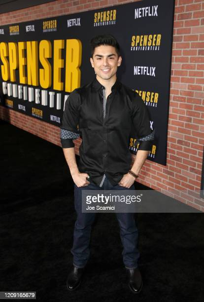 Diego Tinoco attends the Netflix Premiere Spenser Confidential at Westwood Village Theatre on February 27, 2020 in Westwood, California.