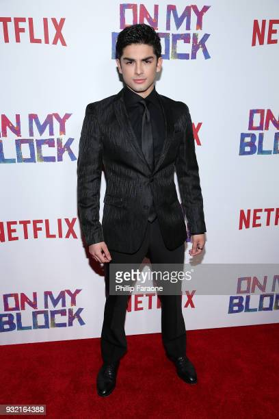 """Diego Tinoco attends the premiere of Netflix's """"On My Block"""" at NETFLIX on March 14, 2018 in Los Angeles, California."""