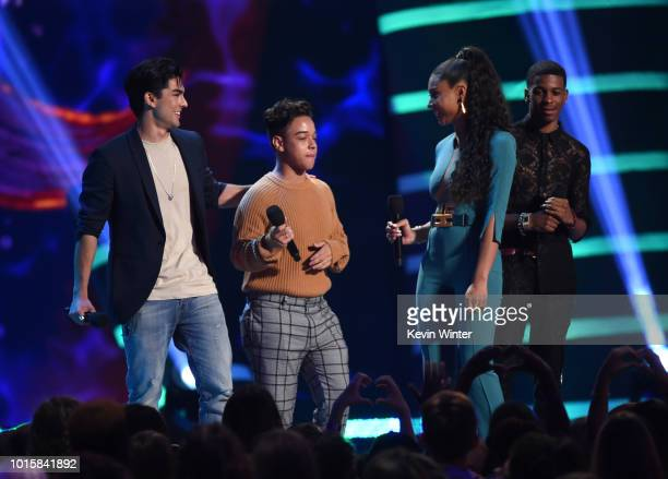 Diego Tinoco Jason Genao Sierra Capri and Brett Gray accept the Choice Breakout Show award for On My Block onstage during FOX's Teen Choice Awards at...