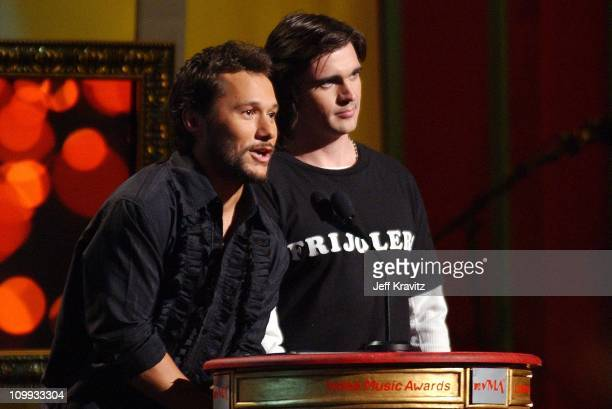 Diego Torres and Juanes during MTV Video Music Awards Latinoamerica 2002 Show at Jackie Gleason Theater in Miami FL United States