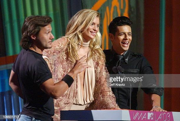 Diego Torres Esther Canadas and Robi Rosa during MTV Video Music Awards Latin America 2003 Live Telecast at Jackie Gleason Theater in Miami Beach...