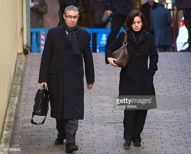 Diego Torres former partner of Spain's Duke of Palma and his wife Ana Maria Tejeiro arrive at the courthouse in Palma de Mallorca on February 16 to...