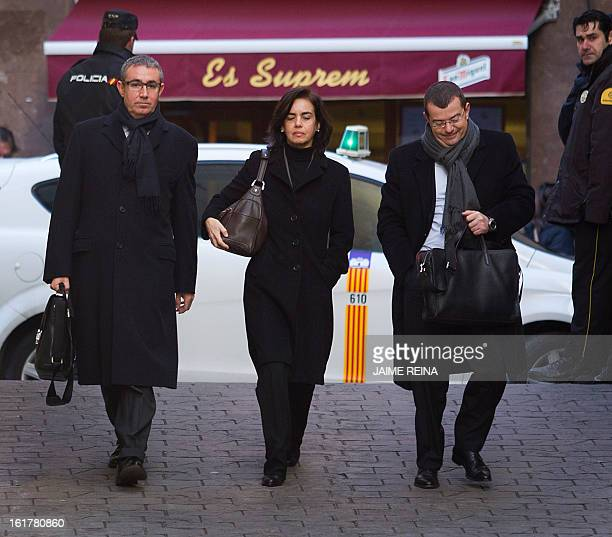 Diego Torres former partner of Spain's Duke of Palma and his wife Ana Maria Tejeiro and their lawyer Manuel Gonzalez Peetres arrive at the courthouse...