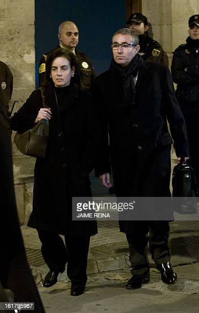 Diego Torres former partner of Spain's Duke of Palma and his wife Ana Maria Tejeiro leave a courthouse in Palma de Mallorca on February 16 to testify...