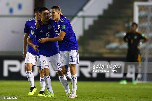 Diego Torres of Paraguay celebrates a scored goal during the FIFA U17 Men's World Cup Brazil 2019 group F match between Solomon Islands and Paraguay...