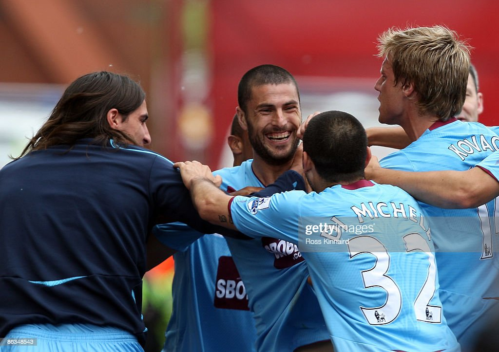 Diego Tristan of West Ham celebrates after the opening goal during the Barclays Premier League match between Stoke City and West Ham United at the Britannia Stadium on May 2, 2009 in Stoke, England.