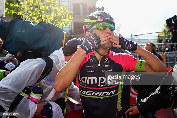 Diego Ulissi of Italy and Lampre-Merida celebrates winning the fifth stage of the 2014 Giro d'Italia, a 203km medium mountain stage between Taranto...