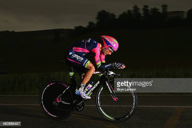 Diego Ulissi of Italy and LampreMerida in action during the twelfth stage of the 2014 Giro d'Italia a 42km Individual Time Trial stage between...