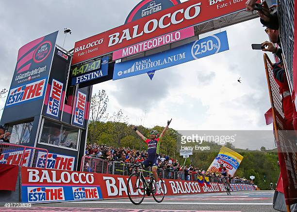 Diego Ulissi of Italy and team Lampre-Merida celebrates winning the eighth stage of the 2014 Giro d'Italia, a 179km medium mountain stage between...