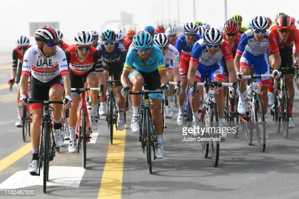 Diego Ulissi of Italy and UAE Team Emirates / Markel Irizar Aranburu of Spain and Team TrekSegafredo / Manuele Boaro of Italy and Astana Pro Team /...