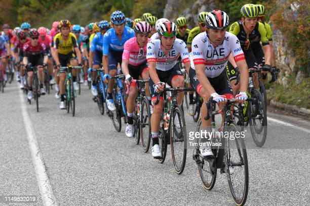 L'AQUILA ITALY MAY 17 Diego Ulissi of Italy and UAE Team Emirates / Tom Bohli of Switzerland and UAE Team Emirates / Valerio Conti of Italy and UAE...
