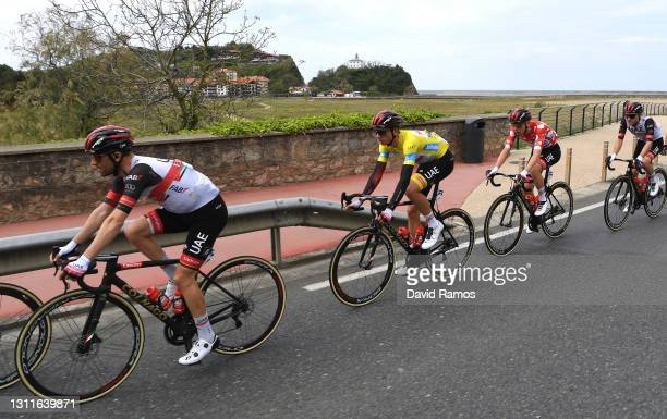 Diego Ulissi of Italy, Brandon Mcnulty of United States and UAE Team Emirates Yellow Leader Jersey & Tadej Pogacar of Slovenia and UAE Team Emirates...