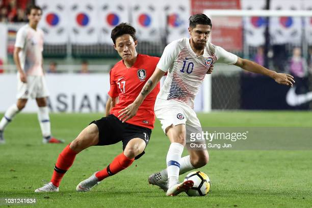 Diego Valdes of Chile competes for the ball with Lee JaeSung of South Korea during the International friendly match between South Korea and Chile at...