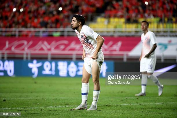 Diego Valdes of Chile reacts during the International friendly match between South Korea and Chile at Busan Asiad Main Stadium on September 11 2018...