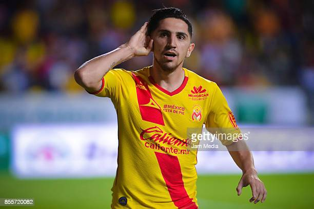 Diego Valdes of Morelia celebrates after scoring the first goal of his team during the 12th round match between Morelia and Tijuana as part of the...