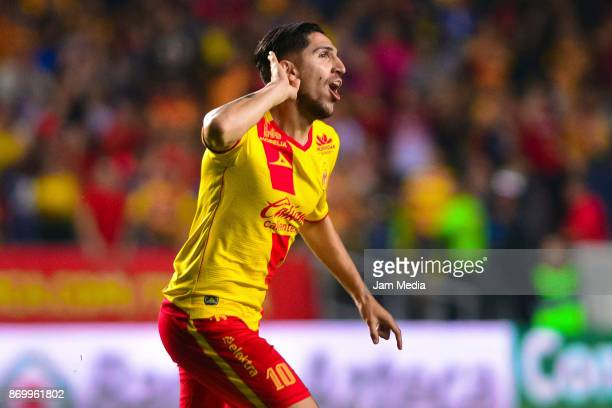 Diego Valdes of Moreliacelebrates after scoring the first goal of his team during the 16th round match between Morelia and Cruz Azul as part of the...