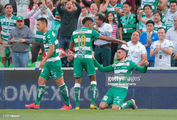 Diego Valdes of Santos celebrates after scoring the first goal of his team during the 8th round match between Santos Laguna and Toluca as part of the...