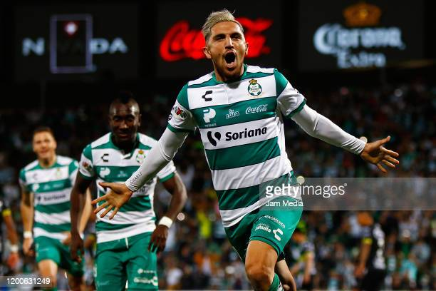 Diego Valdez of Santos celebrates after scoring the second goal of his team during the 2nd round match between Santos Laguna and Leon as part of the...