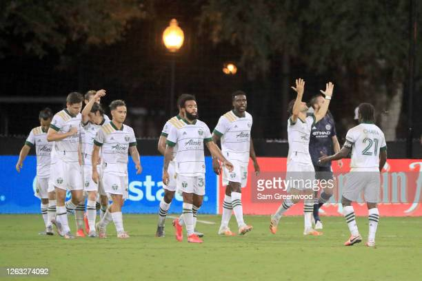 Diego Valeri of Portland Timbers celebrates after scoring the second goal of his team during a quarter final match of MLS Is Back Tournament against...