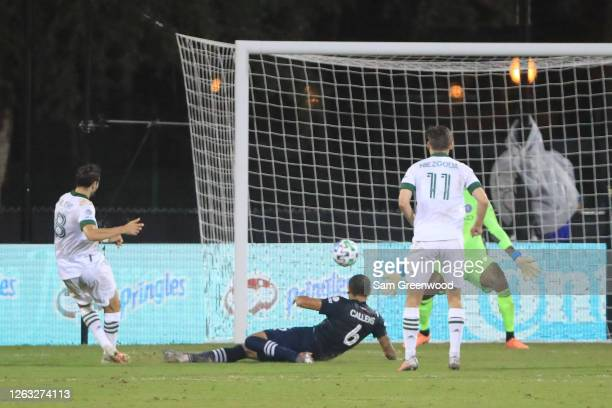 Diego Valeri of Portland Timbers scores the second goal of hits team during a quarter final match of MLS Is Back Tournament between New York City and...