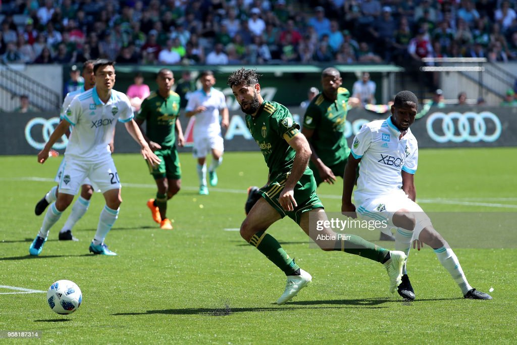 Diego Valeri #8 of the Portland Timbers chases the ball in the first half against the Seattle Sounders during their game at Providence Park on May 13, 2018 in Portland, Oregon.