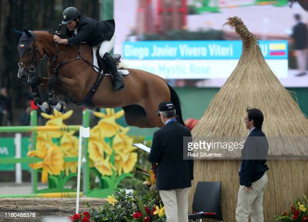 Diego Vivero of Venezuela riding Zambia Mystic Rose competes during equestrian Jumping Individual at Army Equestrian School on Day 14 of Lima 2019...