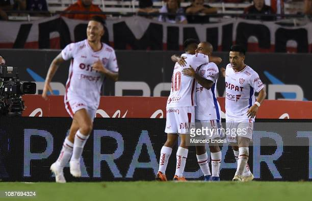 Diego Zabala of Union celebrates after scoring the second goal of his team during a match between River Plate and Union as part of Round 12 of...