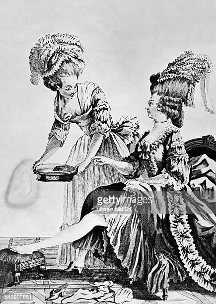 Dienerin bringt einer Dame ein Wasserbecken zum FüßewaschenFrankreich, 18. JahrhundertZeichnung von Le Clerc