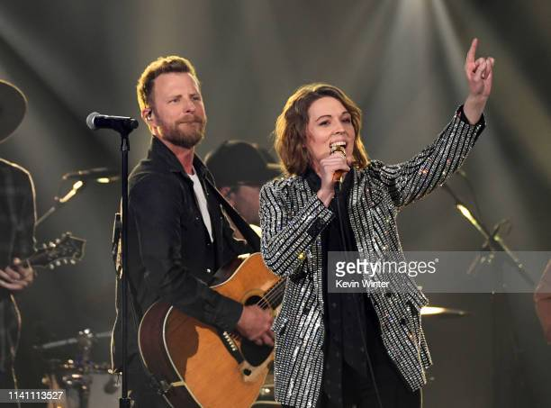 Dierks Bentley and Brandi Carlile perform onstage during the 54th Academy Of Country Music Awards at MGM Grand Garden Arena on April 07 2019 in Las...