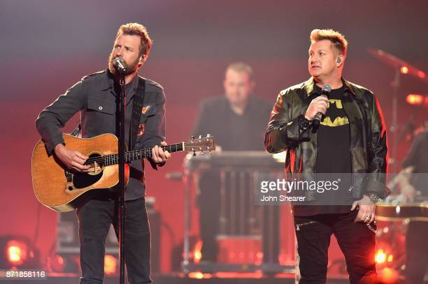 Dierks Bentley and Gary LeVox perform onstage at the 51st annual CMA Awards at the Bridgestone Arena on November 8 2017 in Nashville Tennessee