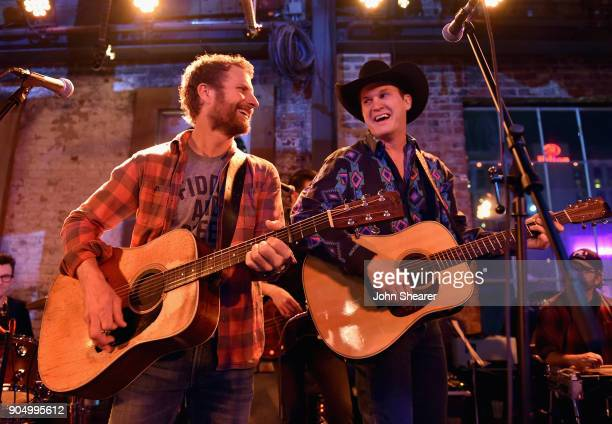 Dierks Bentley and Jon Pardi perform onstage during the Nashville Opening of Dierks Bentley's Whiskey Row on January 14 2018 in Nashville Tennesse