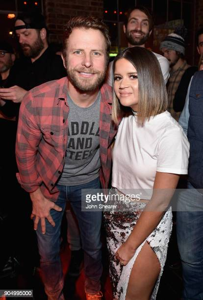 Dierks Bentley and Maren Morris attend the Nashville Opening of Dierks Bentley's Whiskey Row on January 14 2018 in Nashville Tennesse