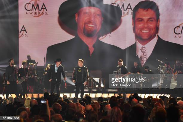 Dierks Bentley Eddie Montgomery Gary LeVox and Jay DeMarcus perform onstage at the 51st annual CMA Awards at the Bridgestone Arena on November 8 2017...