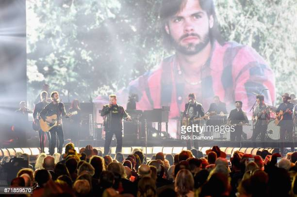 Dierks Bentley Gary LeVox and Jay DeMarcus perform onstage at the 51st annual CMA Awards at the Bridgestone Arena on November 8 2017 in Nashville...