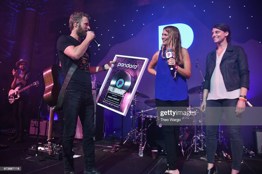 Dierks Bentley is presented a billionaire plaque for three billion spins on Pandora by Pandora Industry Relations Director Nashville Beville Dunkerley and Pandora Head of Country Music Programming Rachel Whitney at Pandora Up Close With Dierks Bentley Sponsored By Southwest on June 13, 2018 in New York City.