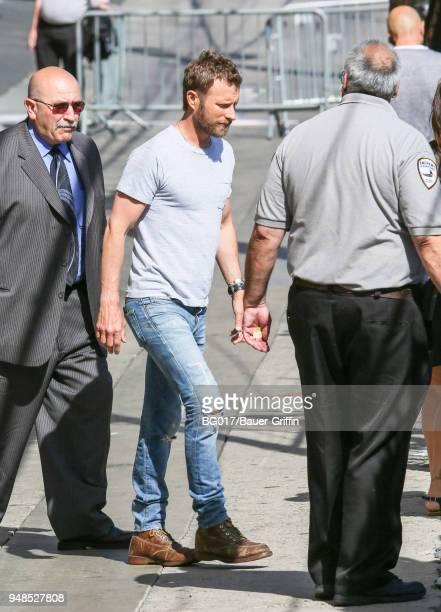 Dierks Bentley is seen arriving at 'Jimmy Kimmel Live' on April 18 2018 in Los Angeles California