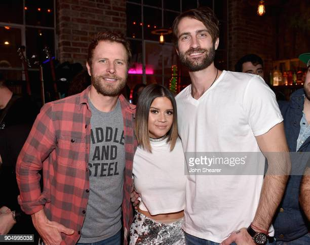 Dierks Bentley Maren Morris and Ryan Hurd attend the Nashville Opening of Dierks Bentley's Whiskey Row on January 14 2018 in Nashville Tennesse