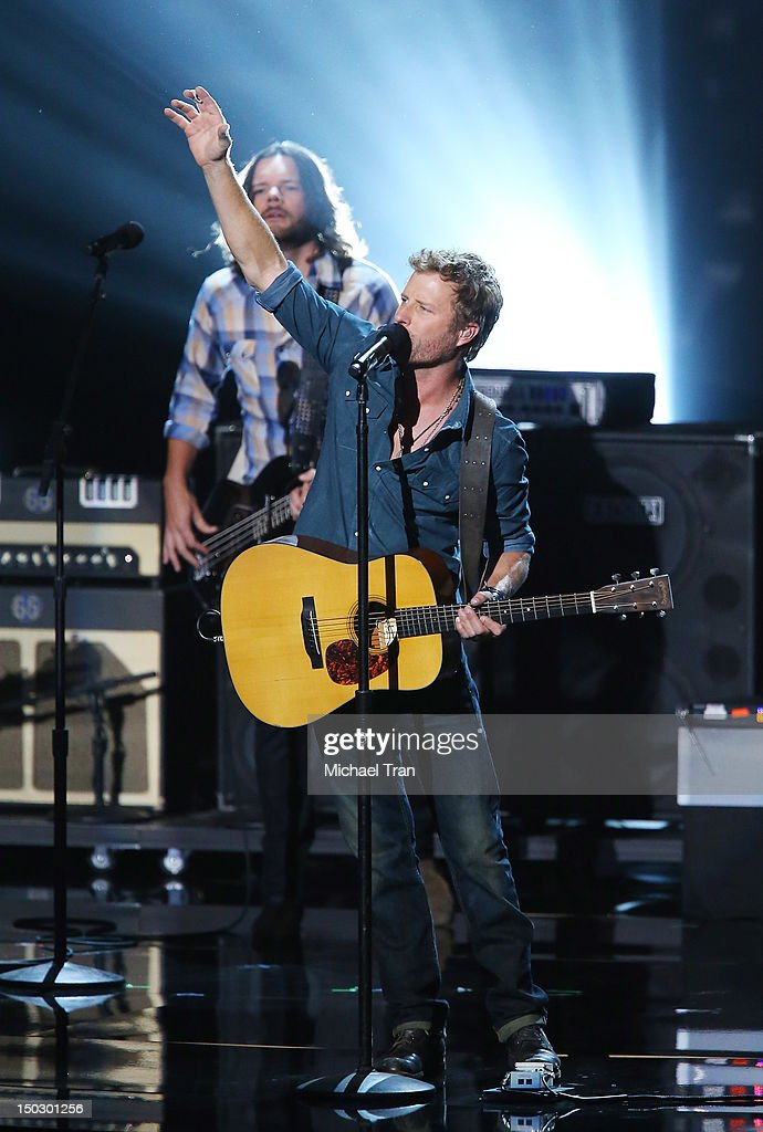 Dierks Bentley perform onstage at the 'Teachers Rock' benefit event held at Nokia Theatre L.A. Live on August 14, 2012 in Los Angeles, California.