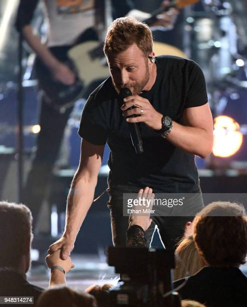 Dierks Bentley performs during the 53rd Academy of Country Music Awards at MGM Grand Garden Arena on April 15 2018 in Las Vegas Nevada