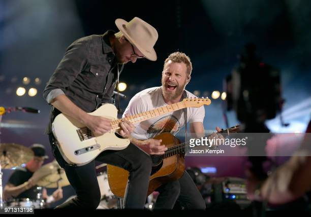 Dierks Bentley performs onstage during the 2018 CMA Music festival at Nissan Stadium on June 10 2018 in Nashville Tennessee