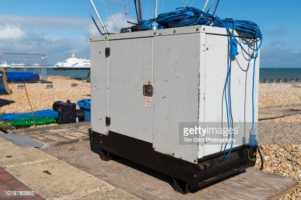 a diesel powered electricity generator - generator stock pictures, royalty-free photos & images