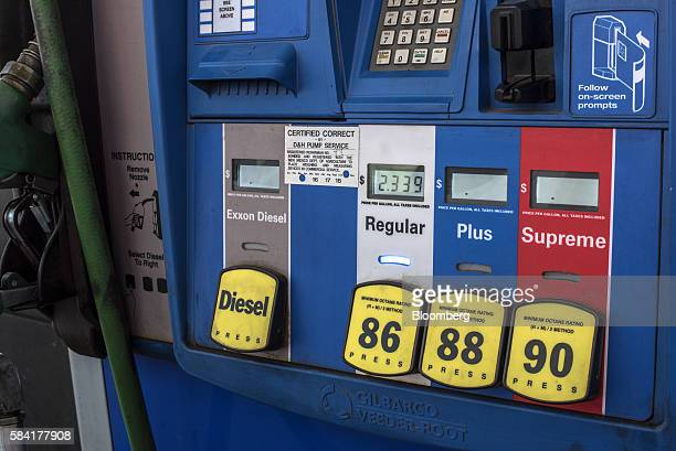 Diesel regular plus and supreme signage are displayed on a gas pump at a roadside Exxon gas station outside Aurora New Mexico US on Tuesday July 26...