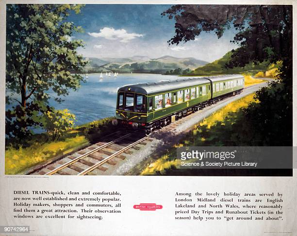 �Diesel Trains A Diesel Train on the Shore of Bassenthwaite Lake near Keswick Cumberland' Poster produced for British Railways to advertise their...