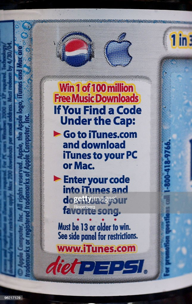 A Diet Pepsi label advertises a promotion to give away 100 million