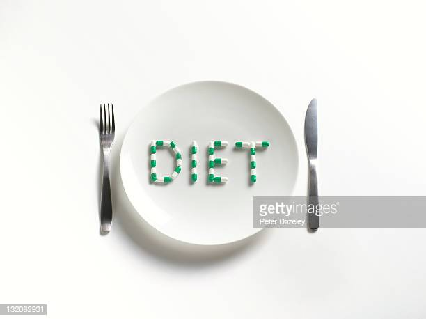 Diet Pills On Plate With Copy Space