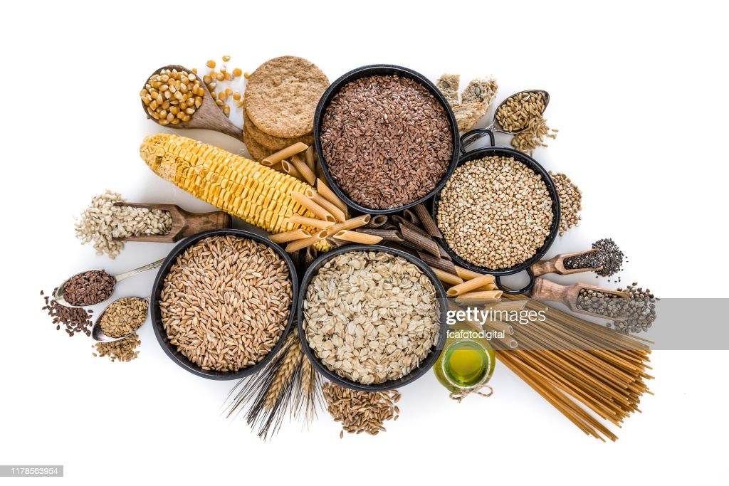 Dietary fiber: large group of wholegrain food shot from above on white background : Stock Photo