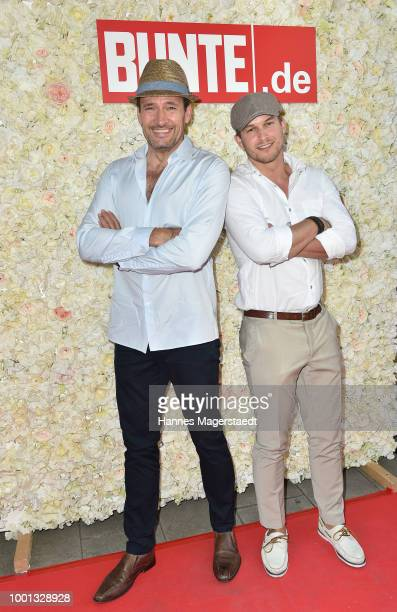Dieter Bach and Florian Frowein during the 'Red Summer Night Of Bunte' at Bar Lehel on July 18 2018 in Munich Germany