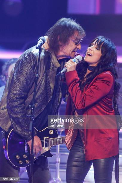 Dieter Birr member of the band Puhdys performs with Rock Legenden and Nena during the tv show 'Willkommen bei Carmen Nebel' at TUI Arena on September...