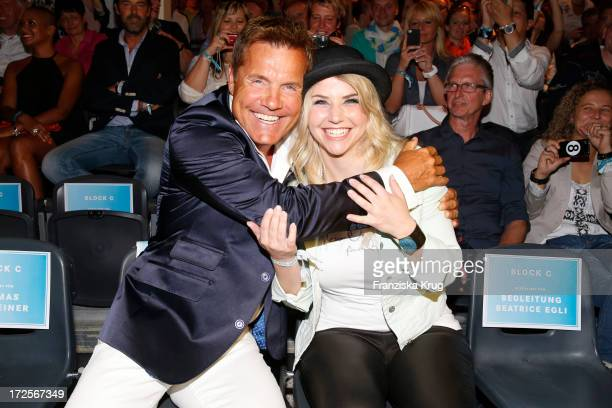 Dieter Bohlen and Beatrice Egli attend the Camp David And Soccx Fashion Night 2013 at Event Island Berlin on July 3 2013 in Berlin Germany